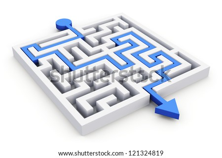 Blue path across white labyrinth isolated on white background