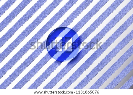 Blue Pause Icon on the Gray Stripes Fur Background. 3D Illustration of Blue Audio, Button, Control, Media, Pause Icon Set With Striped Gray Pattern.