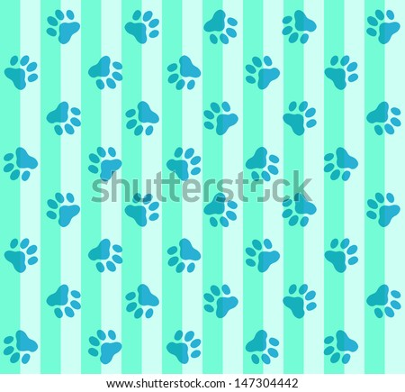 Blue Paws & Stripes Pattern