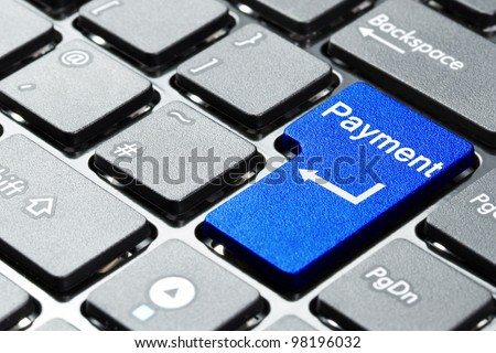Blue payment button on the keyboard