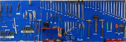 Blue Pegboard Tools Wall with variety tools