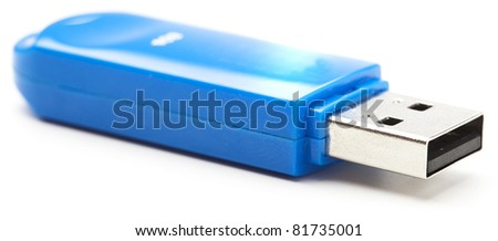 blue pen drive on a white background