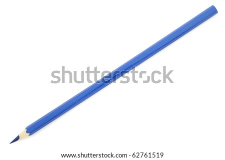 Blue pencil isolated on white background