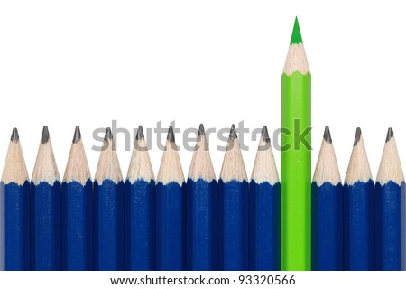 Blue pencils and one green crayon standing out from the crowd. Isolated on white.