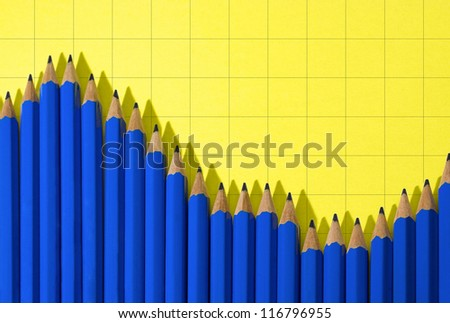 Blue pencils. Usually we use pencils to draw a graph but sometimes the pencils can draw a graph by themselves.