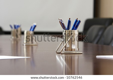blue pens waiting important significant meeting