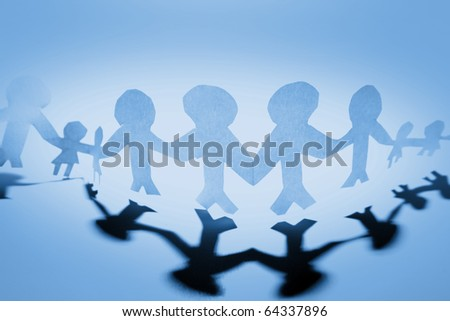Blue people holding hands together