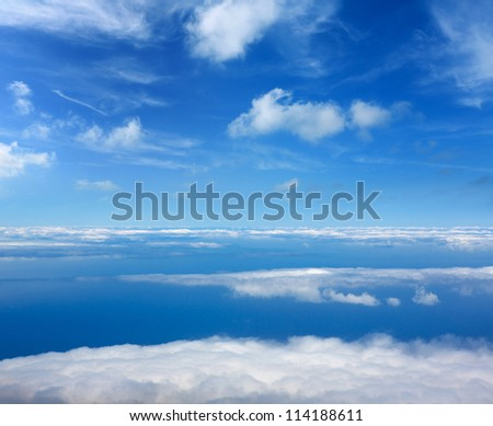 Blue perfect sky sea of clouds from high altitude in canary Islands