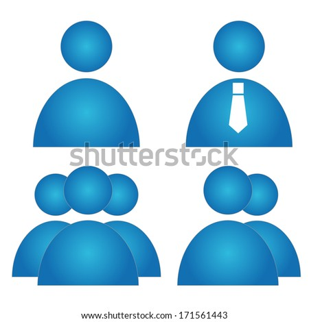 Blue person icons. Illustration of group person computer icons set isolated