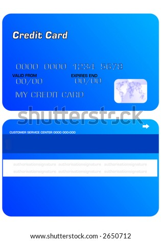 BLUE Personal Credit Card on white background