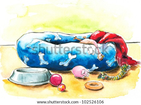 Blue pet bed and toys.Picture I have created with watercolors.