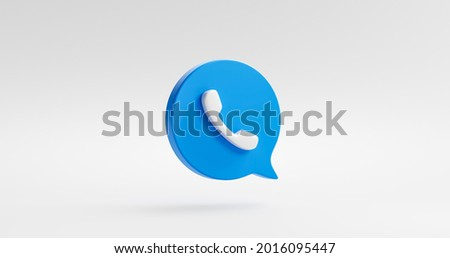 Blue phone icon or contact website mobile symbol isolated on classic communication telephone white background with service support hotline concept. 3D rendering.