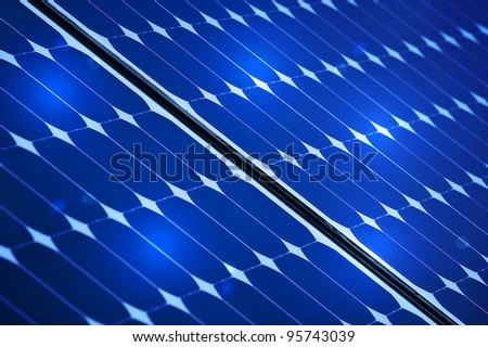 Blue Photovoltaic solar panel With Lights On It