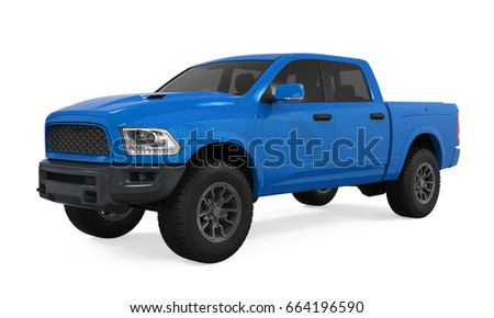 Blue Pickup Truck Isolated. 3D rendering