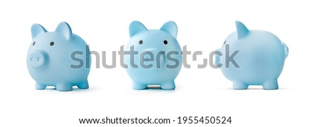 blue piggy bank on a white background. concept of preserving and saving money. Photo stock ©