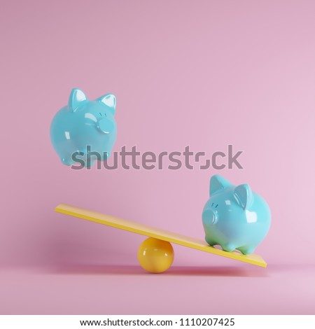 Blue piggys bank playing with yellow seesaw on pink background. minimal idea funny concept.
