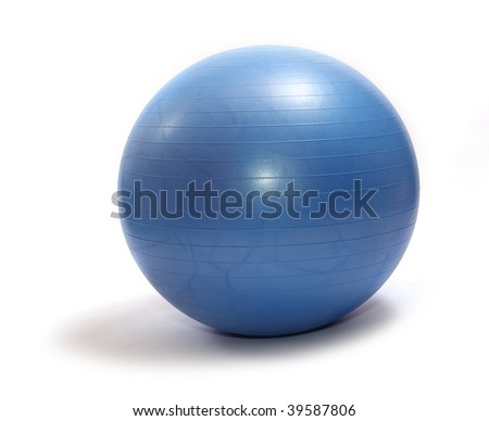 Blue pilates ball on a white backgroud