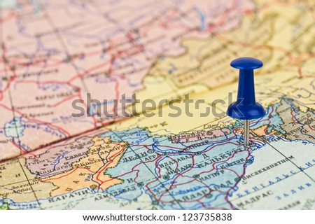 blue pin on the map