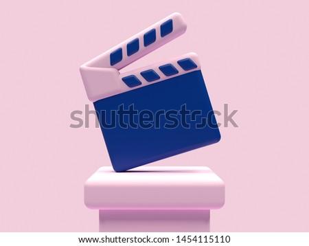 blue pink movie slate/clapboard cinematography concept 3d rendering
