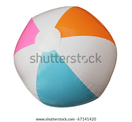 blue pink orange and white beach ball isolated on white background