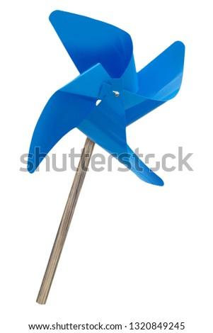 Blue pinwheel isolated against white background #1320849245