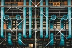 Blue pipes and vents at Centre Pompidou, Paris, France