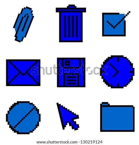 Blue Pixelated Icons Illustration