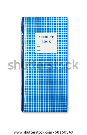 blue plaid account book isolated on white background