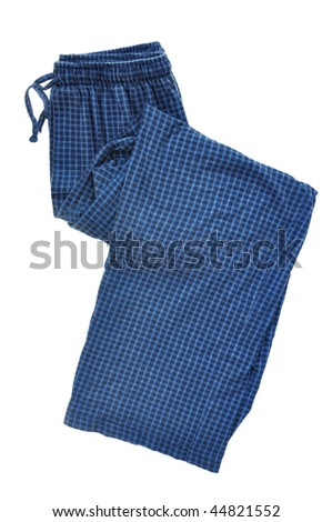 Blue Plaid Pajama Pants Isolated on a White Background