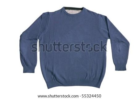 Blue plain sweater isolated on white background