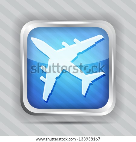 blue plane icon on a striped background