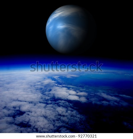 Blue planet above the Earth's surface. Are there other planets like Earth? Combination of photo and 3D render.