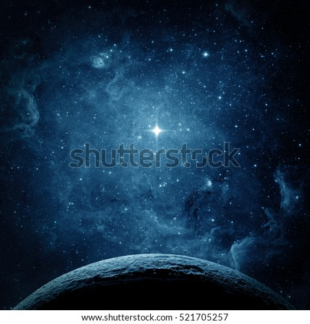 Stock Photo Blue planet and galaxy. Elements of this image furnished by NASA.