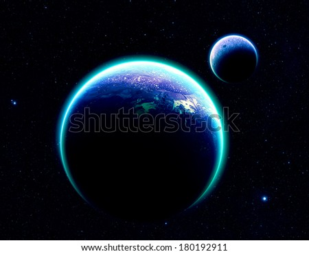 Blue Planet and Moon on Stars - Elements of this Image Furnished by NASA