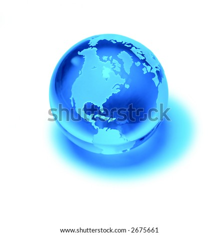 Blue planet crystal ball, global marketing backgrounds