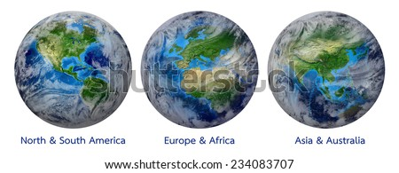 Blue Planet Earth, Global World with clouds showing America, Europe, Africa, Asia, Australia continent. Elements of this image furnished by NASA - Photo realistic 3 D rendering with clipping path