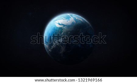 Blue planet Earth in darkness. Outer space. Our home. Elements of this image furnished by NASA