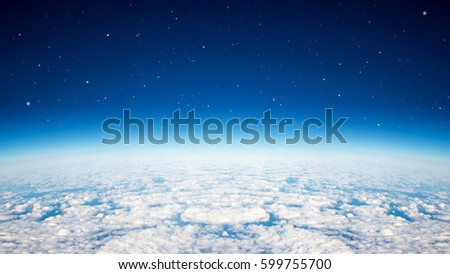 Blue planet earth over the cloudy and star in the sky