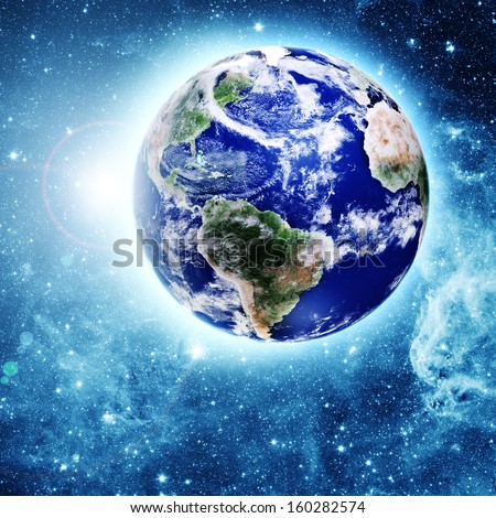 blue planet in beautiful space. Elements of this image furnished by NASA