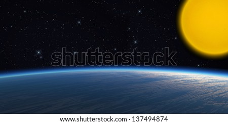 Stock Photo Blue planet on star background.