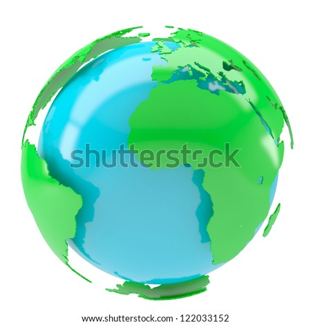 Blue planet with green continents. Isolated render on a white background