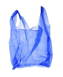 Blue plastic bag on white background. Isolated object