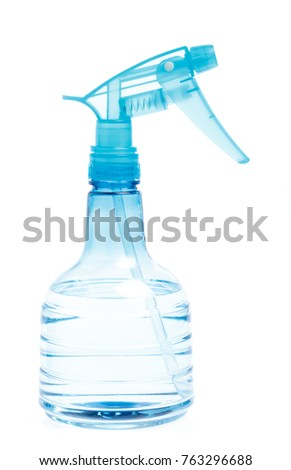 Blue Plastic bottle can Spray Pistol. Object isolated on white background