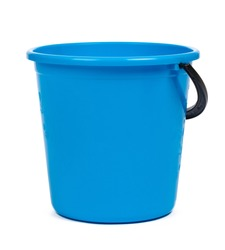 Blue plastic bucket for cleaning isolated on white background