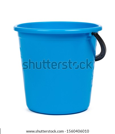 Blue plastic bucket for cleaning isolated on white background Сток-фото ©