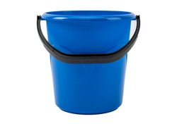 Blue plastic bucket on a white background of large volume.
