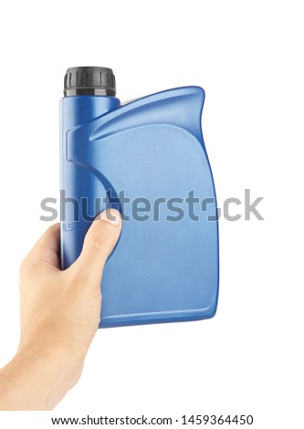 blue plastic canister for lubricants in hand, container for chemistry isolated on white #1459364450