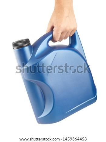 blue plastic canister for lubricants in hand, container for chemistry isolated on white #1459364453