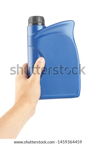 blue plastic canister for lubricants in hand, container for chemistry isolated on white #1459364459