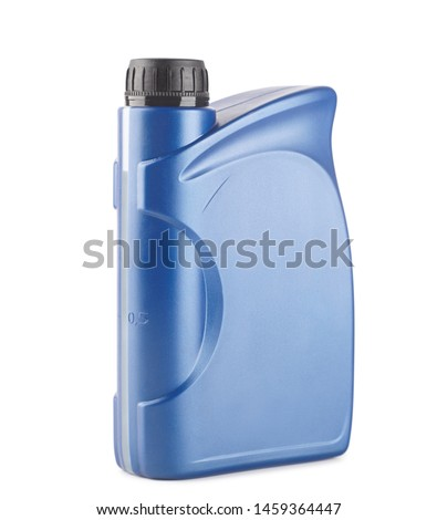 blue plastic canister for lubricants without label, container for chemicals isolated on white #1459364447
